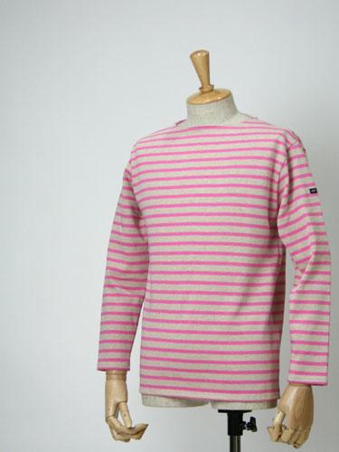 SAINT JAMES【セントジェームス】ボートネックボーダーバスクシャツ ウェッソンOUESSANT BORDER JASPER/CORNEL(メンズ・杢ベージュ/杢ピンク)