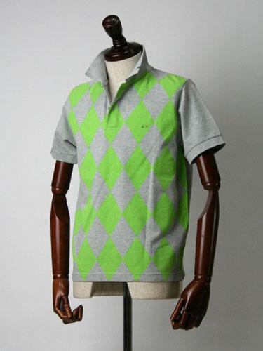SUN68【サンシックスティーエイト】ポロシャツ46201023 GVC GREY×GREEN(アーガイル グレー×グリーン)